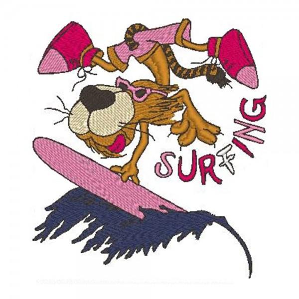 Stickmotiv Surfing Tiger dunkelblau-rosa