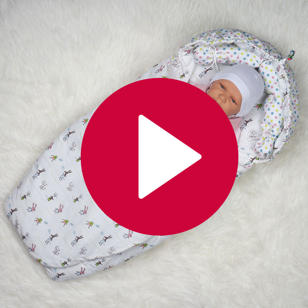Babynest Tierchen - Gesamtansicht Stoff 2