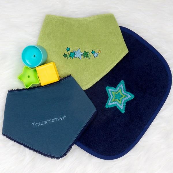Rubinchen-Set Sterne dunkelblau-petrol-grün