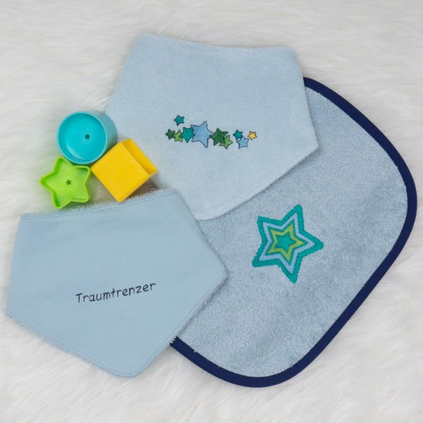 hellblaues Rubinchen-Set Sterne