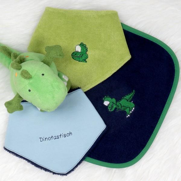 Rubinchen-Set T-Rex dunkelblau-hellblau-grün
