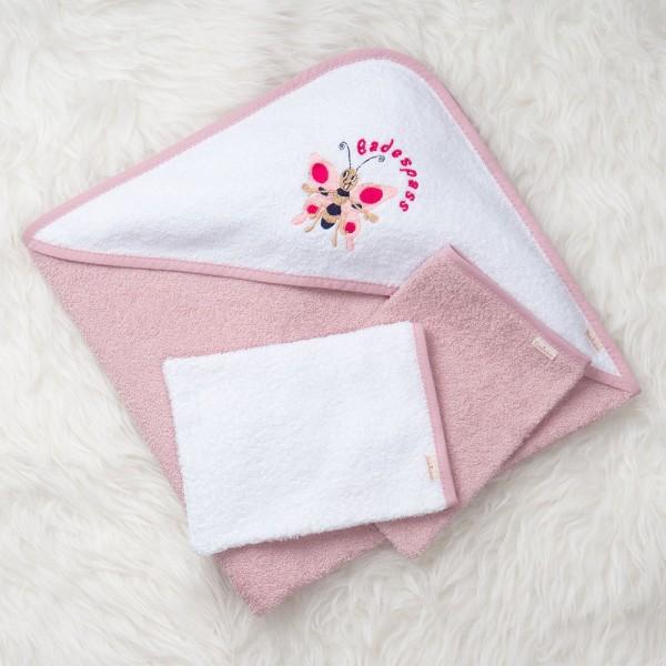Kapuzenhandtuch Schmetterling rosa-weiß mit 2 Waschlappen