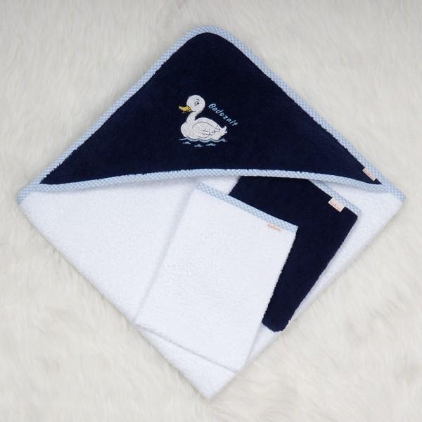 Kapuzenhandtuch Entlein weiß-dunkelblau mit 2 Waschlappen